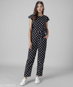 Women Black Polka dot Printed Jumpsuits