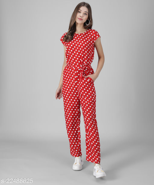 Women Red Polka dot Printed Jumpsuits