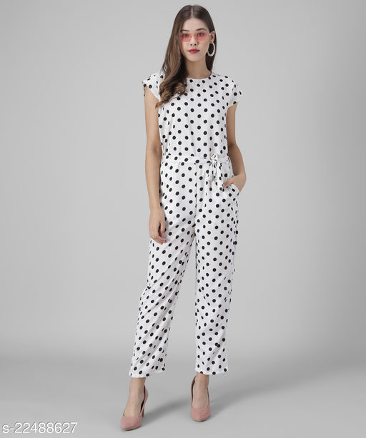 Women White Polka dot Printed Jumpsuits