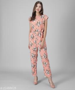 Women Beige Floral Printed Jumpsuits