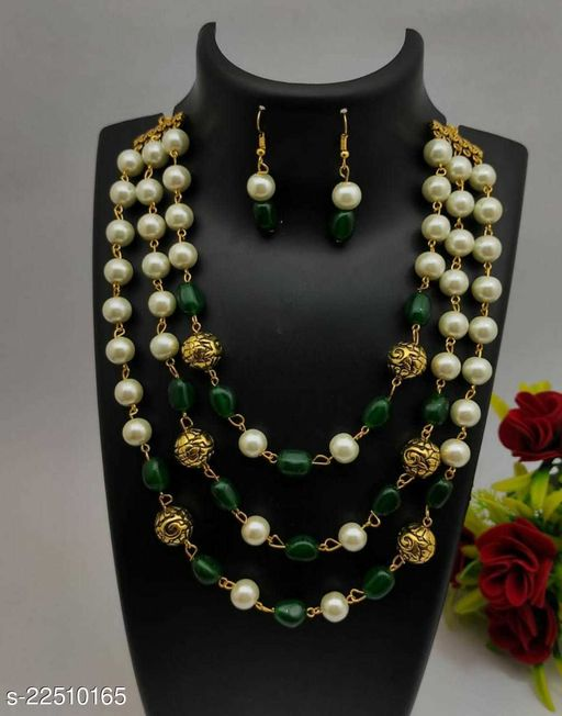 Allure Fancy 3 line Necklace and chain Mala With Earrings