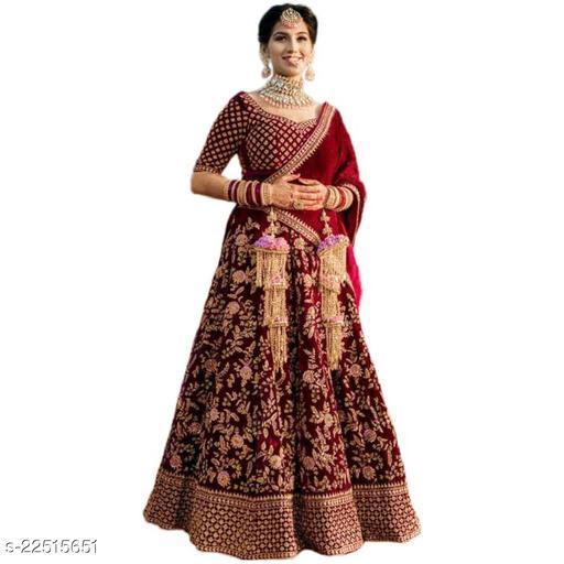 HANUMANT Bridal Designer Women's Velvet Semi Stitched Lehenga Choli ( NAIRA-MAROON-NEW-2-LEHENGA_MAROON_Free Size)