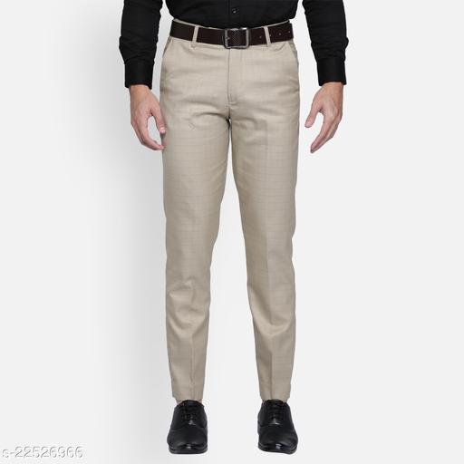 Haul Chic's Elegant Checked Cotton Blend Slim Fit Trouser