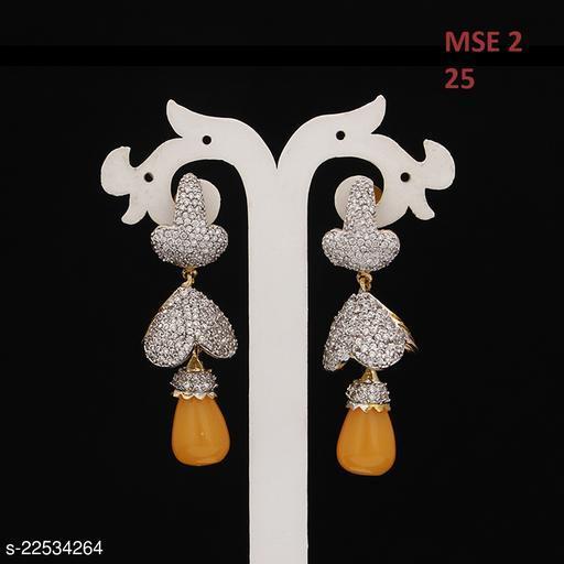 Indian Handmade Chandelier Earrings For Women Girls Ladies Cubic Zircon Gold Plated Baali Kundal Jewellery Fashion Jewellery MSE 2-YELLOW