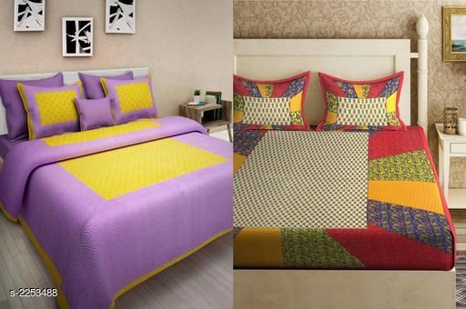 Attractive Cotton Printed Double Bedsheets( Pack Of 2 )