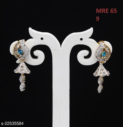 Handmade Drop Dangle Earrings For Women Girls Ladies Cubic Zircon Gold Plated Baali Kundal Jewellery Fashion Jewellery MRE 65-AQUA