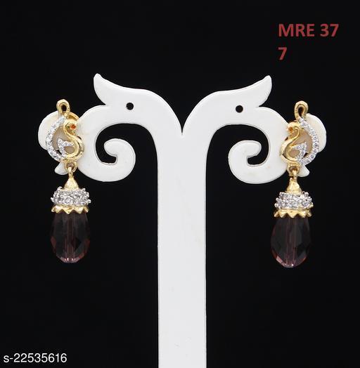 Unique Drop Dangle Earrings For Women Girls Ladies Cubic Zircon Gold Plated Baali Kundal Jewellery Design Jewelry MRE 37-MAROON