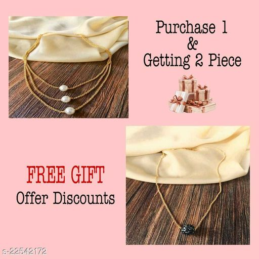 Women's Alloy Gold Plated Necklaces & Chain Combo Pack