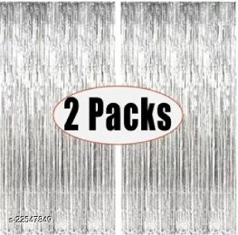 PACK OF-2 Silver Foil Curtains