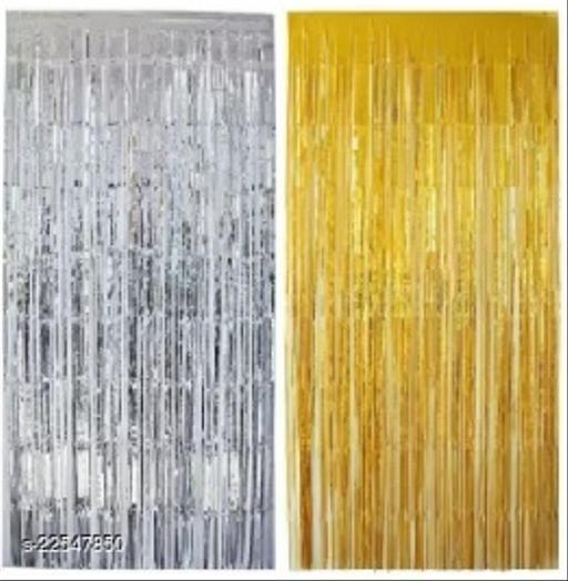 1 Pc. Silver Foil Curtains + 1 Pc. Golden Foil Curtain
