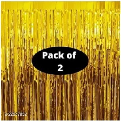 PACK OF-2 Golden Foil Curtains