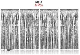 PACK OF-4 Silver Foil Curtains