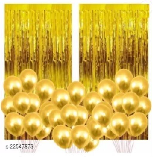 PACK OF-2 Golden Foil Curtains + 30 Golden Metallic Balloons