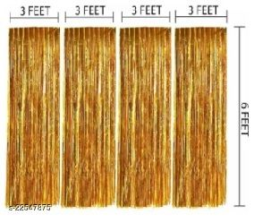 PACK OF-4 Golden Foil Curtains