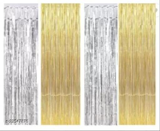 2 Pcs. Golden Foil Curtains + 2 Pcs. Silver Foil Curtains