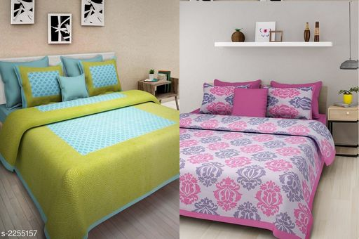 Attractive Cotton Printed Double Bedsheets ( Pack Of 2 )