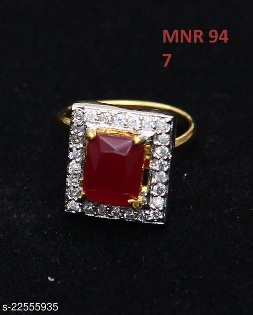 Beautiful Design Ethnic Ring Square Ruby, Cubic Zircon Red-White Indian Handmade Yellow Gold Plated Hand Jewellery for Girls Ladies Women MNR 94-RED
