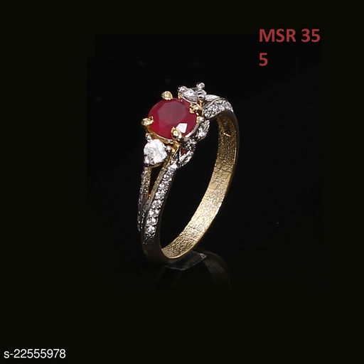 Jewelry Indian Traditional Polki Ring Oval Ruby, Cubic Zircon Red-White Gorgeous Gold Plated Fashion Jewellery for Girls Ladies Women MSR 35-RED