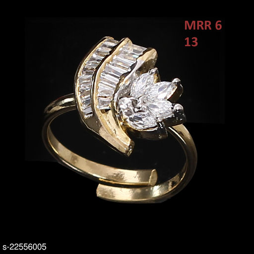 Ethnic Design Polki Ring Pear Cubic Zircon White Unique Gold Plated Fashion Jewellery for Girls Ladies Women MRR 6-WHITE