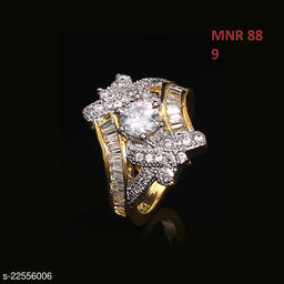 Beautiful Design Polki Ring Oval Cubic Zircon White Indian Handmade 14K Gold Plated Designer Jewellery for Girls Ladies Women MNR 88-WHITE