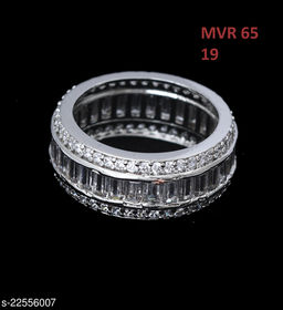 Jewelry Beautiful Design Cocktail Ring Round Cubic Zircon White Indian Handmade Yellow Gold Plated Fashion Jewellery for Girls Ladies Women MVR 65-WHITE