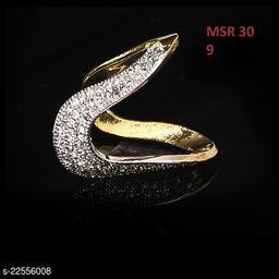 Unique Design Ethnic Ring Round Cubic Zircon White Intricately Handcrafted in Yellow Gold Plated Rich Designer Jewellery for Girls Ladies Women MSR 30