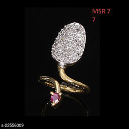 Beautiful Design Polki Ring Oval Ruby, Cubic Zircon Pink-White Indian Handmade 14K Gold Plated Fashion Jewellery for Girls Ladies Women MSR 7-B
