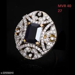 Jewelry Traditionl Looking Enamel Work Ring Rectangular Black Onyx,Cubic Zircon Black-White Rich Designer Gold Plated Hand Jewellery for Girls Ladies Women MVR 40-BLACK