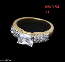 Jewelry Traditionl Looking Ethnic Ring Rectangular Pearl,Cubic Zircon White Rich Designer Yellow Gold Plated Rich Designer Jewellery for Girls Ladies Women MVR 54-GOLD