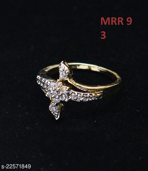 Beautiful Design Polki Ring Oval Cubic Zircon White Indian Handmade Yellow Gold Plated Latest Fashion Jewellery for Girls Ladies Women MRR 9