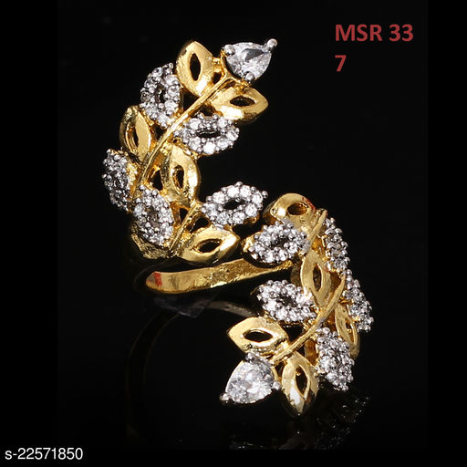 Jewelry Latest Design Ethnic Ring Pear Cubic Zircon White-Gold Intricately Handcrafted in 18K Gold Plated Hand Jewellery for Girls Ladies Women MSR 33-WHITE