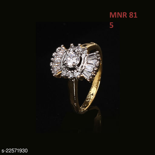 Traditionl Looking Polki Ring Oval Cubic Zircon White Rich Designer Yellow Gold Plated Fashion Designer Jewellery for Girls Ladies Women MNR 81-WHITE