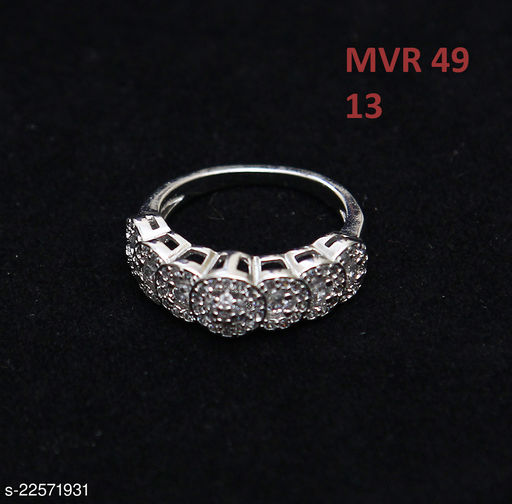 Jewelry Unique Design Enamel Work Ring Round Cubic Zircon White Intricately Handcrafted in Gold Plated Rich Designer Jewellery for Girls Ladies Women MVR 49