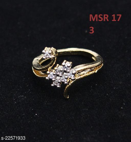 Classy Looking Enamel Work Ring Pear Cubic Zircon White Beautiful Gold Plated Rich Designer Jewellery for Girls Ladies Women MSR 17
