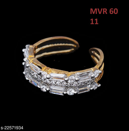 Jewelry Latest Design Polki Ring Round Cubic Zircon White Intricately Handcrafted in Gold Plated Fashion Jewellery for Girls Ladies Women MVR 60-GOLD