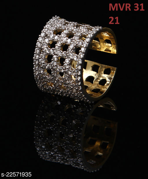 Jewelry Unique Design Ethnic Ring Round Cubic Zircon White Intricately Handcrafted in 18K Gold Plated Hand Jewellery for Girls Ladies Women MVR 31