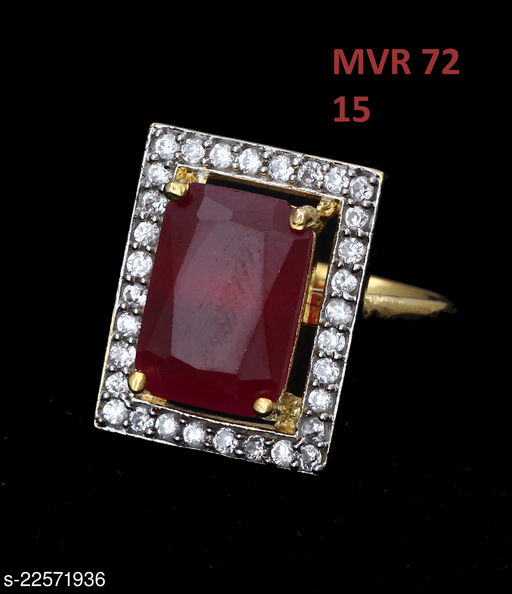 Jewelry Classy Looking Clutster Style Ring Rectangular Ruby,Cubic Zircon Red-White Beautiful Gold Plated Fashion Designer Jewellery for Girls Ladies Women MVR 72-RED