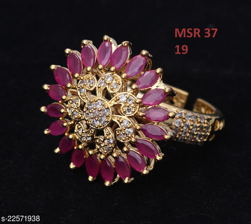 Jewelry Beautiful Design Enamel Work Ring Pear Ruby, Cubic Zircon Pink-White Indian Handmade Gold Plated Hand Jewellery for Girls Ladies Women MSR 37-PINK