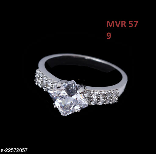 Jewelry Traditionl Looking Clutster Style Ring Half Rose Pearl,Cubic Zircon White Rich Designer Gold Plated Latest Fashion Jewellery for Girls Ladies Women MVR 57-WHITE