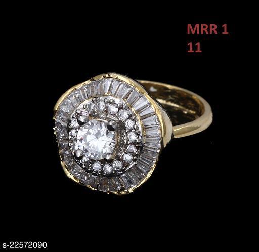 Ethnic Design Polki Ring Oval Cubic Zircon White Unique Yellow Gold Plated Fashion Designer Jewellery for Girls Ladies Women MRR 1-WHITE