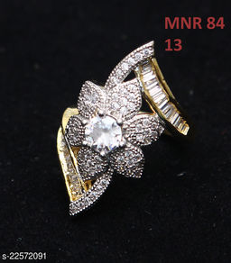Beautiful Design Polki Ring Round Cubic Zircon White Indian Handmade 18K Gold Plated Royal Looking Jewellery for Girls Ladies Women MNR 84-WHITE