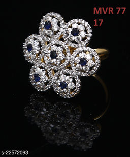 Indian Traditional Clutster Style Ring Round Blue Sapphire,Cubic Zircon Blue-White Gorgeous 14K Gold Plated Royal Looking Jewellery for Girls Ladies Women MVR 77-BLUE