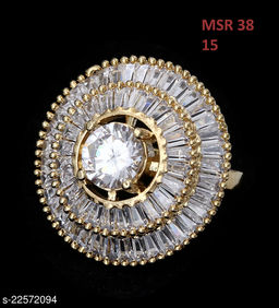 Jewelry Classy Looking Clutster Style Ring Round Cubic Zircon White Beautiful Gold Plated Royal Looking Jewellery for Girls Ladies Women MSR 38-WHITE