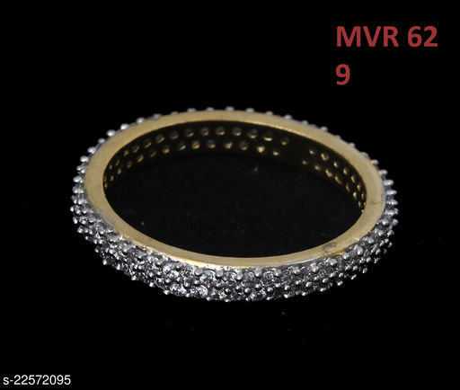 Jewelry Ethnic Design Enamel Work Ring Round Cubic Zircon White Unique Gold Plated Hand Jewellery for Girls Ladies Women MVR 62-GOLD