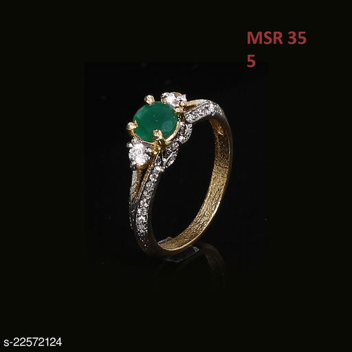 Ethnic Design Polki Ring Oval Emerald,Cubic Zircon Green-White Unique 18K Gold Plated Royal Looking Jewellery for Girls Ladies Women MSR 35-GREEN