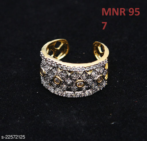 Traditionl Looking Clutster Style Ring Round Cubic Zircon White Rich Designer 14K Gold Plated Latest Fashion Jewellery for Girls Ladies Women MNR 95