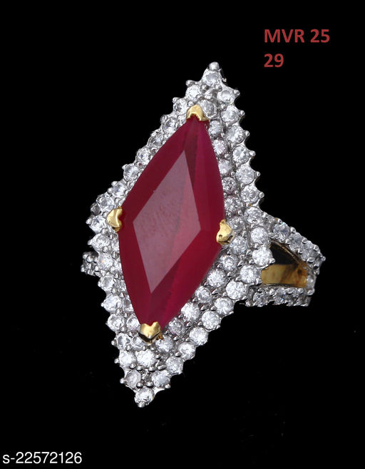 Indian Traditional Enamel Work Ring Trillion Ruby, Cubic Zircon Red-White Gorgeous Gold Plated Designer Jewellery for Girls Ladies Women MVR 25-PINK