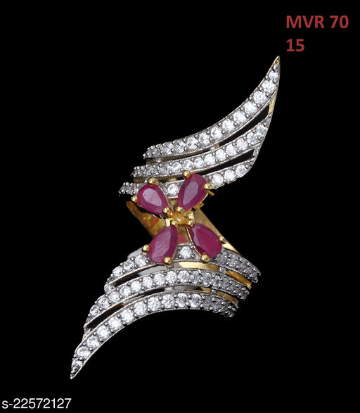 Jewelry Traditionl Looking Polki Ring Pear Ruby,Cubic Zircon Pink-White Rich Designer Yellow Gold Plated Royal Looking Jewellery for Girls Ladies Women MVR 70-PINK