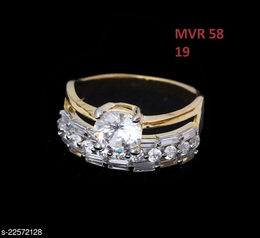 Jewelry Ethnic Design Cocktail Ring Round Pearl,Cubic Zircon White Unique Yellow Gold Plated Designer Jewellery for Girls Ladies Women MVR 58-GOLD