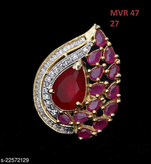 Jewelry Indian Traditional Ethnic Ring Pear Ruby, Cubic Zircon Pink-White Gorgeous Yellow Gold Plated Hand Jewellery for Girls Ladies Women MVR 47